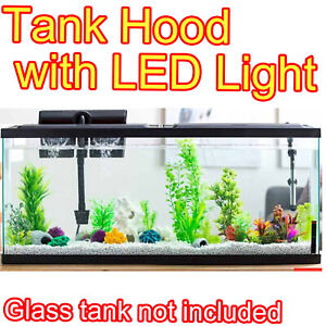 LED AQUARIUM HOOD FOR 20 TO 55 GALLON FISH TANKS NATURAL DAYLIGHT LOW PROFILE