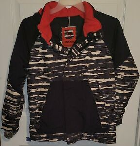 Burton DryRide Ski Snowboard Jacket Youth Size Medium Black Red Camo Insulated
