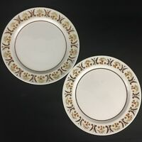 Set of 2 VTG Dinner Plates by Mikasa Mediterrania Rick Rack Brown D2837 Japan