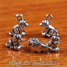 10pcs 10*10mm Charms 3D Dogs Pendants Tibetan Silver Jewelry Bracelet H7240