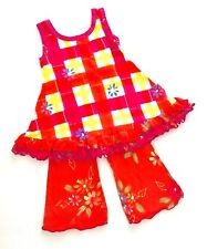 NWT Indygo Artwear $98 6X South Africa Hand Painted Bright Party Dress 2pc Set