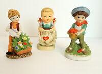 Royal Crown Figurine & 2 Others Lot of 3 Vintage Figurines Children Gardening