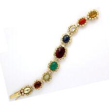 Navratna Gemstone Bracelet 18k Solid Yellow Gold Natural Diamond Fine Jewelry