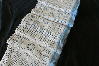 Pretty Antique French Cotton Crochet Long Snowflakes Table Runner Christmas 6ft