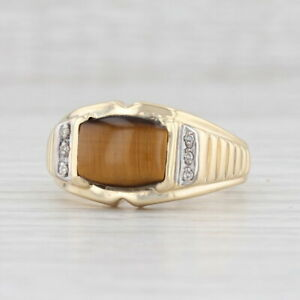 New Tiger's Eye Diamond Ring 10k Yellow Gold Size 10.75 Brown Stone Solitaire
