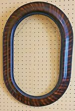 Large Antique 1900's Oval Tiger Stripe Wood with Glass Original Picture Frame