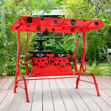 Kids Patio Swing Porch Bench with Canopy 2 Person Seats Outdoor Garden Ladybug