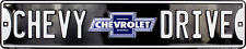 "CHEVY DRIVE STREET SIGN 24"" x5"" EMBOSSED METAL CHEVROLET GM BOWTIE AVENUE AVE ST"