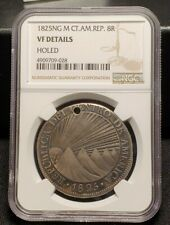 New Listing1825 Ng M Central American Republic Silver 8 Reales Ngc Vf Details - Holed