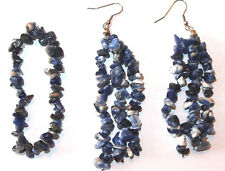 Blue sodalite stretch bracelet and earring set (gemstone chips)
