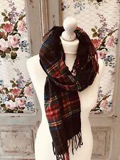 Gorgeous Wool Scarf Tartan Plaid Check Fringed 💖