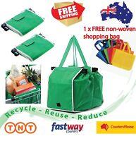 Reusable Shopping Bags Green Eco Foldable Handle Bag Grocery Cart Trolley 2,4pcs