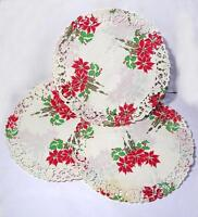 """10 VTG 1950 DIE CUT SML ROUND 6"""" POINSETTIA PAPER LACE CHRISTMAS DOILIES, CRAFTS"""