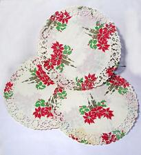 "10 VTG 1950 DIE CUT SML ROUND 6"" POINSETTIA PAPER LACE CHRISTMAS DOILIES, CRAFTS"