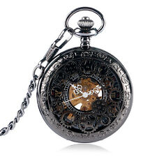 Steampunk Black Gear Skeleton Mechanical Pendant Necklace Pocket Watch Xmas Gift