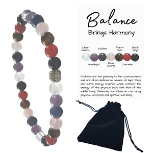 Gemstone Chakra Beaded Crystal Healing Bracelet with 6mm beads Info Card & Pouch
