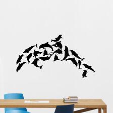 Dolphin Wall Decal Sea Bathroom Removable Vinyl Sticker Nautical Decor 171hor
