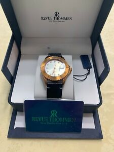 Revue Thommen Men's Diver White Dial Black Leather Automatic Watch 17571.2592