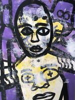 Hasworld original Abstract Expressionist Signed,Street Pop,contemporary Purple