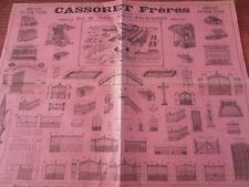 RARE AFFICHE ANCIENNE SUR LA FERRONNERIE MAISON CASSORET PAS DE CALAIS ( ref 60