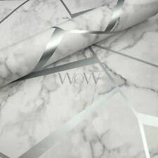 Fraktale Geometrisch Marmor Tapete Silber - Fine Decor FD42263 Metallisch Luxus