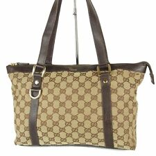 Auth GUCCI Logos Abbey GG Canvas Tote Hand Bag Italy F/S 18327bkac