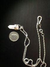 quartz crystal pendant necklace silvertoned