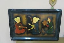 "Vintage Russian Hand-painted Tole Tray Pictorial Ethnic Art Lacquered 17"" x 27"""