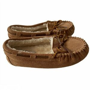 Minnetonka Brown Suede Kids Moccasins Size 1