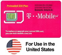 First Month $50 T-Mobile Unlimited 4G LTE Plan in US Preloaded Prepaid SIM Card