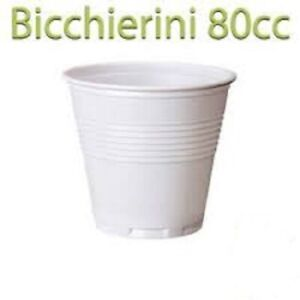 1000x bicchierino plastica 80cc Caffe bicchierini caffè bianco bar