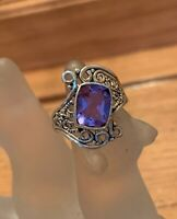 3ct Color Change Alexandrite 925 Solid Sterling Silver Cushion Cut Ring Sz 8