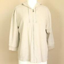 J Jill Womens Zipper Hoodie Jacket Cardigan Size Large Ivory Beige Bone