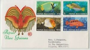 Stamps Papua New Guinea 1976 fish set of 4 on WCS Wesley green text cachet FDC