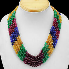 389.00 CTS EARTH MINED 3 STRAND RUBY, EMERALD & SAPPHIRE BEADS NECKLACE (RS)