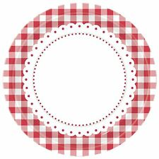 8 Red Gingham Lunch Plates Party Tableware Decorations Birthday Catering Round  sc 1 st  eBay & Gingham Paper Party Plates | eBay