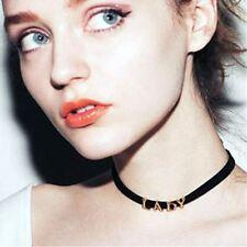 New Boho 90s Letter Word beaded Charm Bib Vintage Choker Necklace- Lady