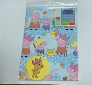 Peppa Pig Gift Wrapping Paper With Tags. 2 Sheets 2 Tags.