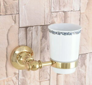 Wall Mount Bathroom Gold Color Brass Toothbrush Holder With Ceramic Cup 2ba308