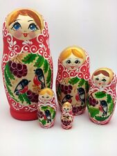 Russian Nesting Dolls BIRDS Wood Handmade in Russia Set of 5  7.5""