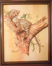 Unique PHIL PRENTICE Leopard Needlepoint Dimensional Print 1976 Framed Signed