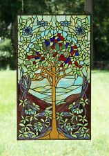 "20"" x 34"" Large Handcrafted stained glass window panel Tree of Life"