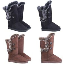 Ladies Women Winter Fur Lined Mid Calf Boots Snow Warm Button Comfy Shoes