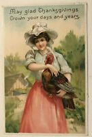 ~Pretty Lady with Turkey~Antique Clapsaddle Thanksgiving Postcard-k800