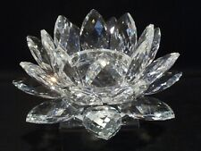 AUSTRIAN LARGE FACETED CRYSTAL LOTUS FLOWER CANDLE HOLDER.