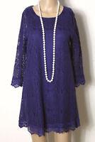Kleid Gr. 38 lila kurz/mini 3/4-Arm A-Linie Party Kleid aus Häkelspitze