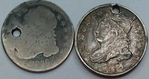 1836 & 1832 Lot of (2) SILVER CAPPED BUST DIME COINS, BOTH HOLED