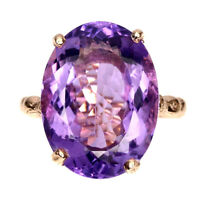 Handmade Oval Amethyst 18.42ct Rose Gold Plate 925 Sterling Silver Ring Size 9.5