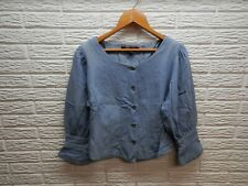 NY LINE Blue Jean Button Down Puffy Shoulder Blouse Size Medium