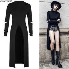 Women High Split Tops Knitted Gothic Solid Hoodie Irregular Hem Tee  Maxi Dress